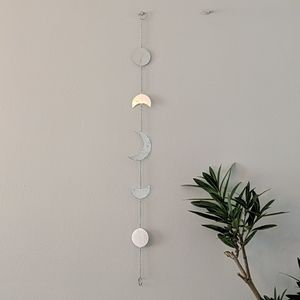 Silver moon phase wall decor